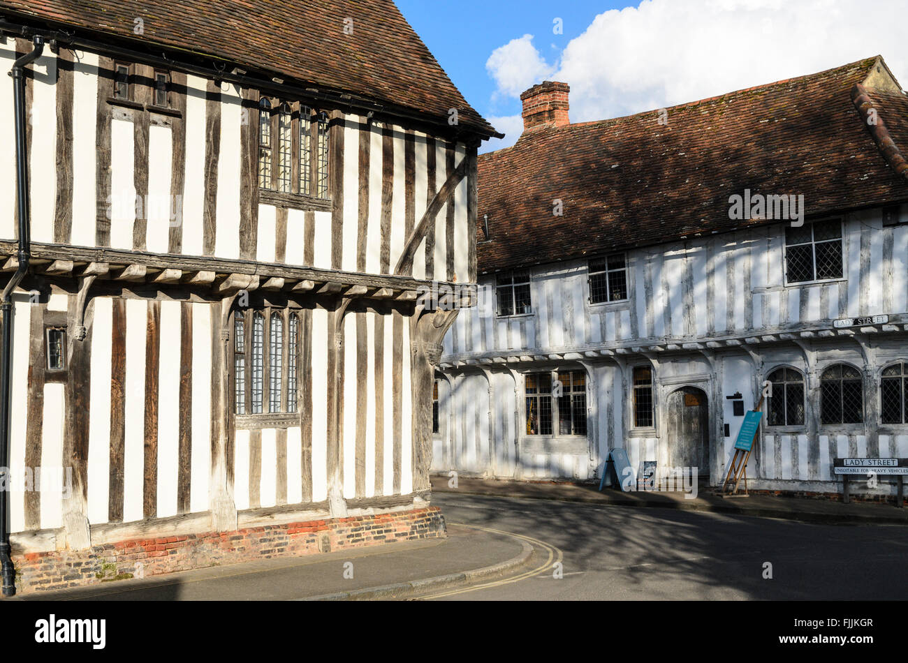 Traditional half-timbered medieval builidings in Lavenham, Suffolk, England, UK. Stock Photo