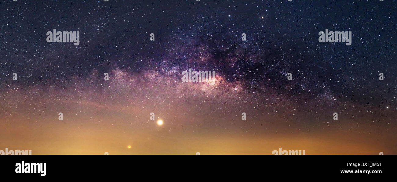 Panorama of milky way - Stock Image