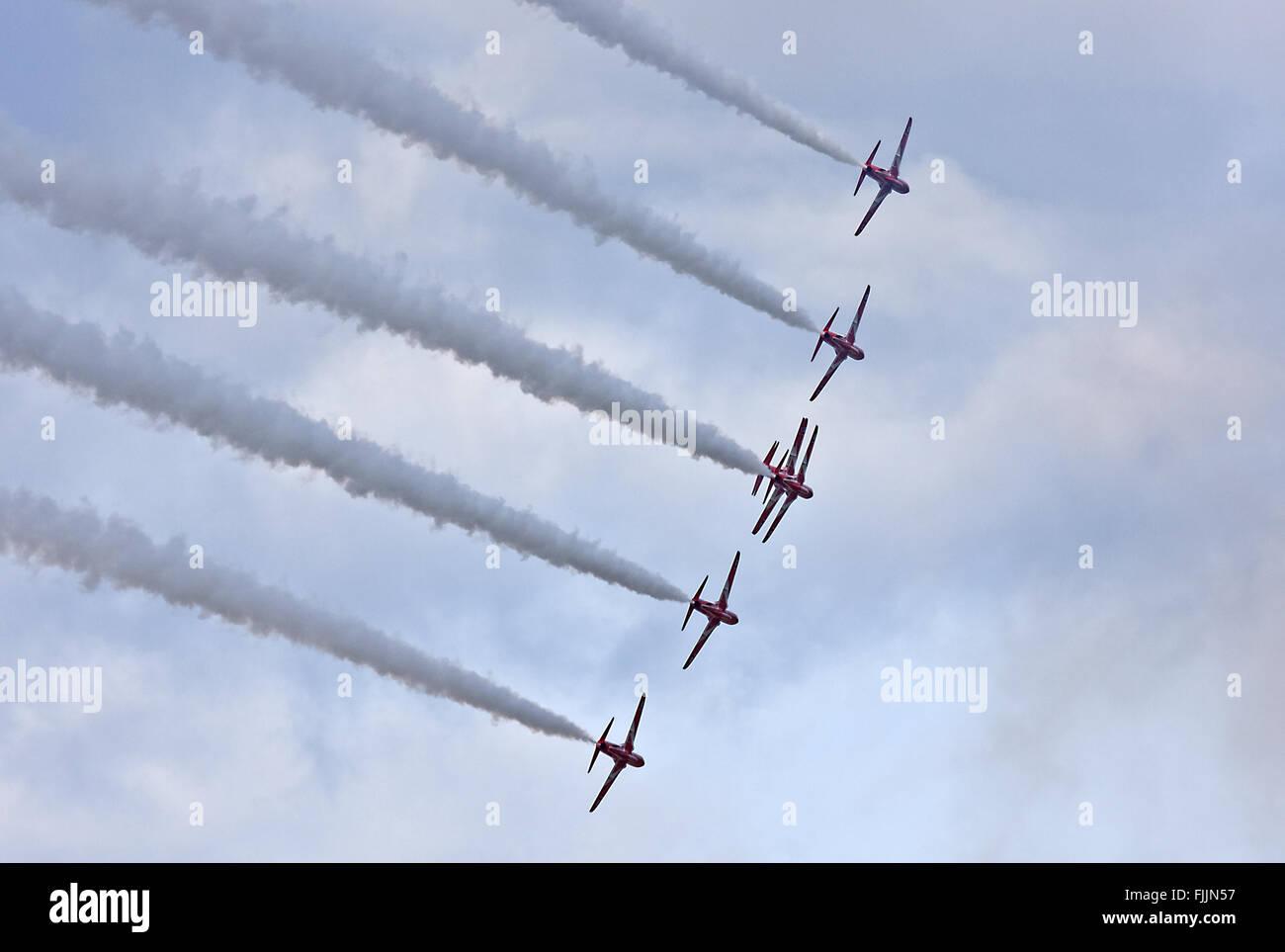 RAF Aerobatic Team Red Arrows, 7 ship formation - Stock Image