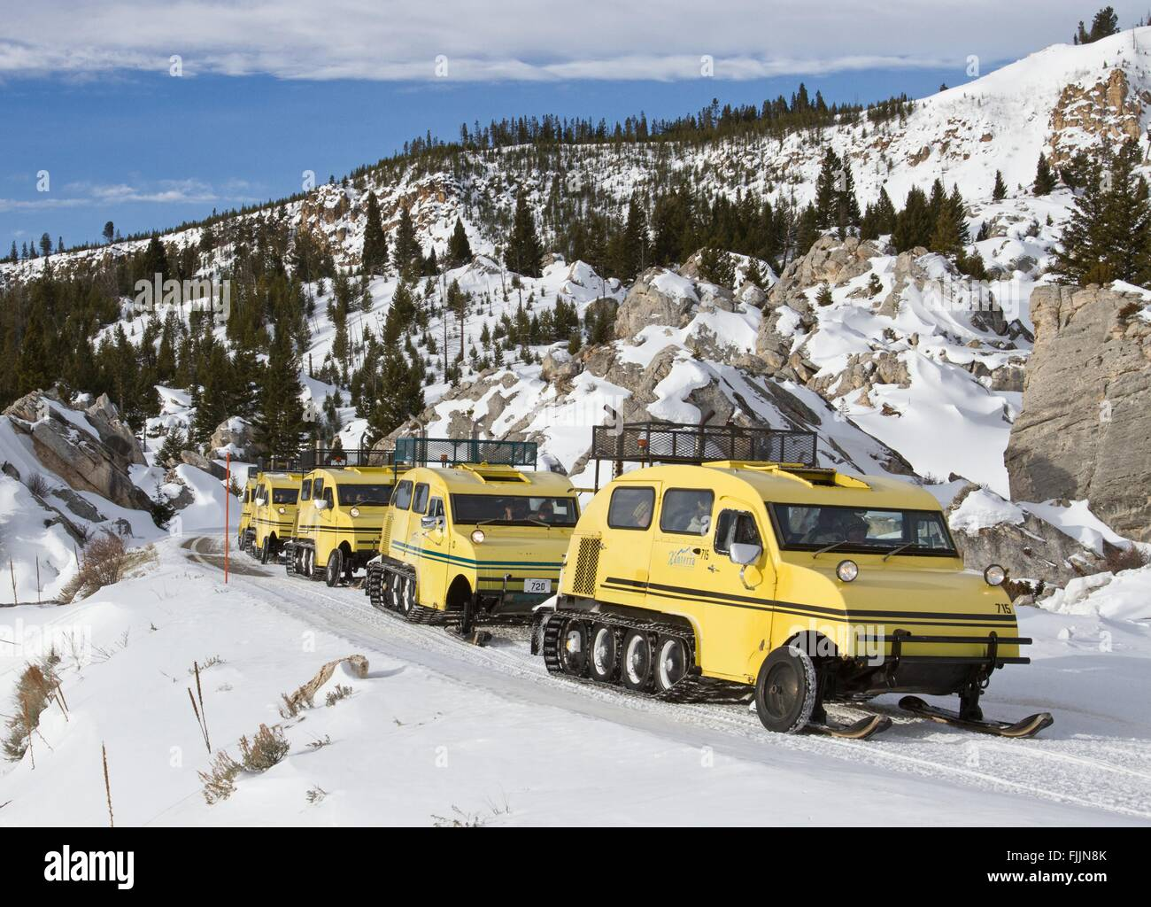 Xanterra Bombardier snowcoaches carry the last group of