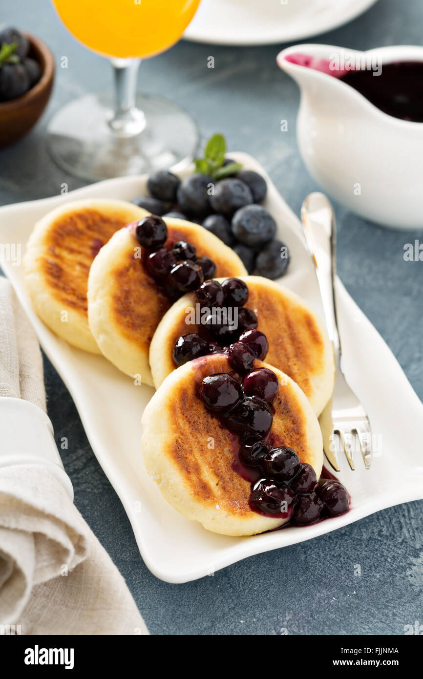 Small cottage cheese pancakes - Stock Image