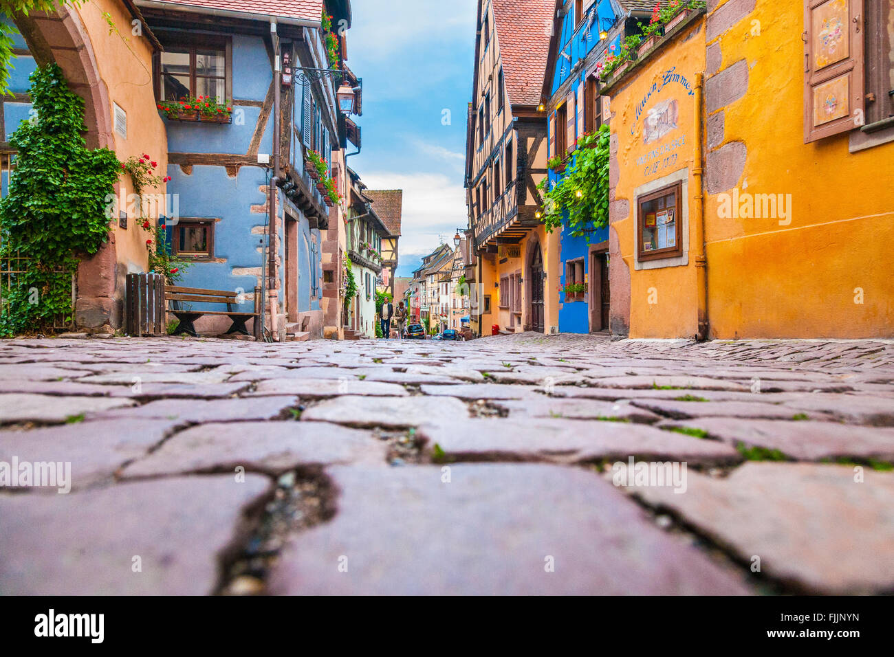 Typical street view in Riquewihr, Alsace, Haut-Rhin, France, Europe - Stock Image