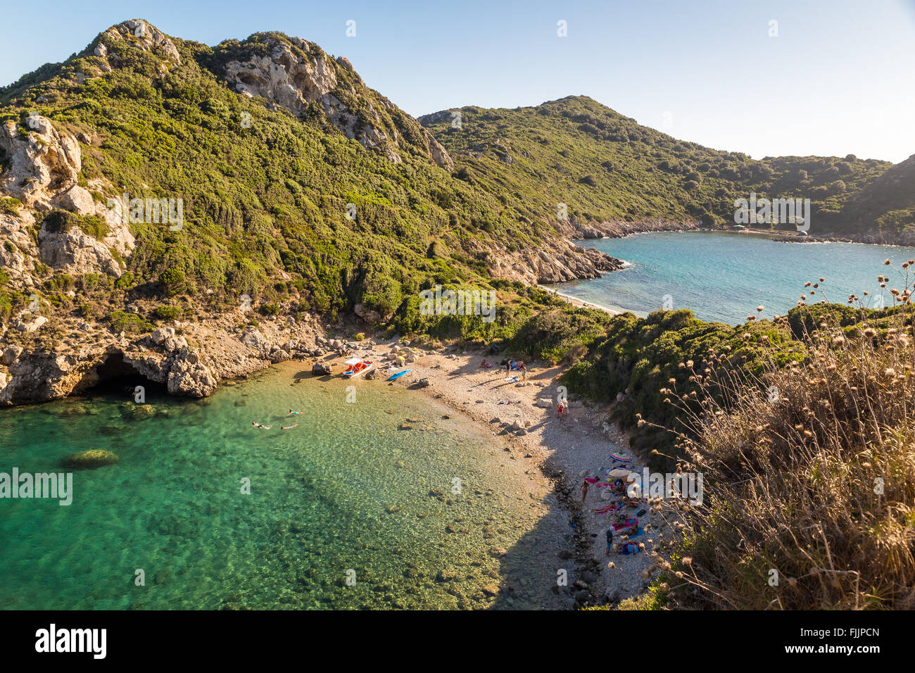 Landscape of Porto Timoni, Corfu, Greece - Stock Image