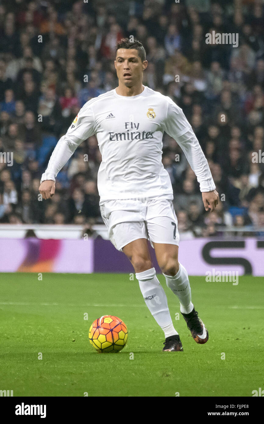 dba6247b8 Cristiano Ronaldo in action during the 2015 16 La Liga match between Real  Madrid and Espanyol held at Santiago Bernabéu. The match finished 6-0 in  Real ...