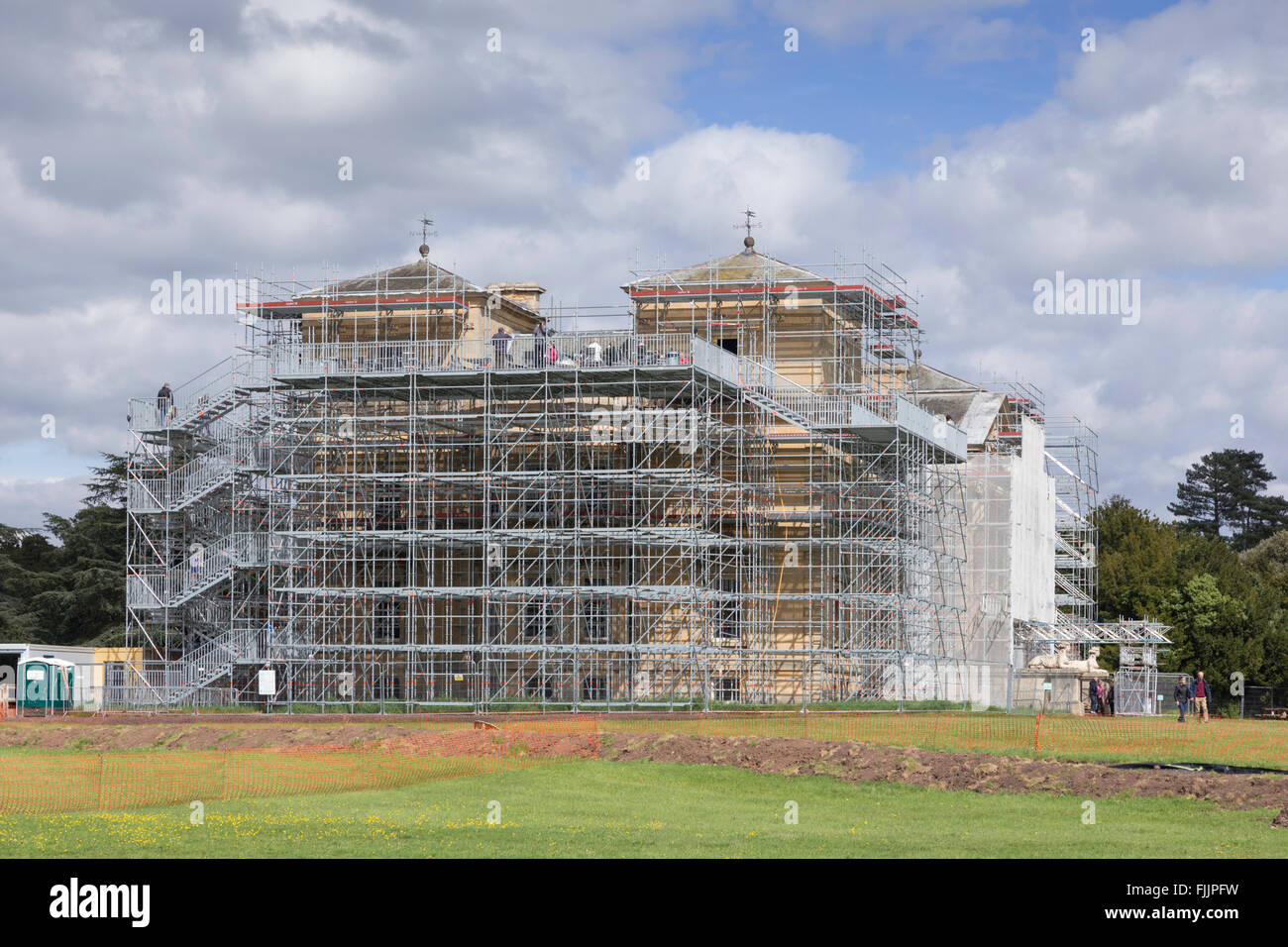 Scaffolding around Croome Court, Worcestershire, England, UK - Stock Image
