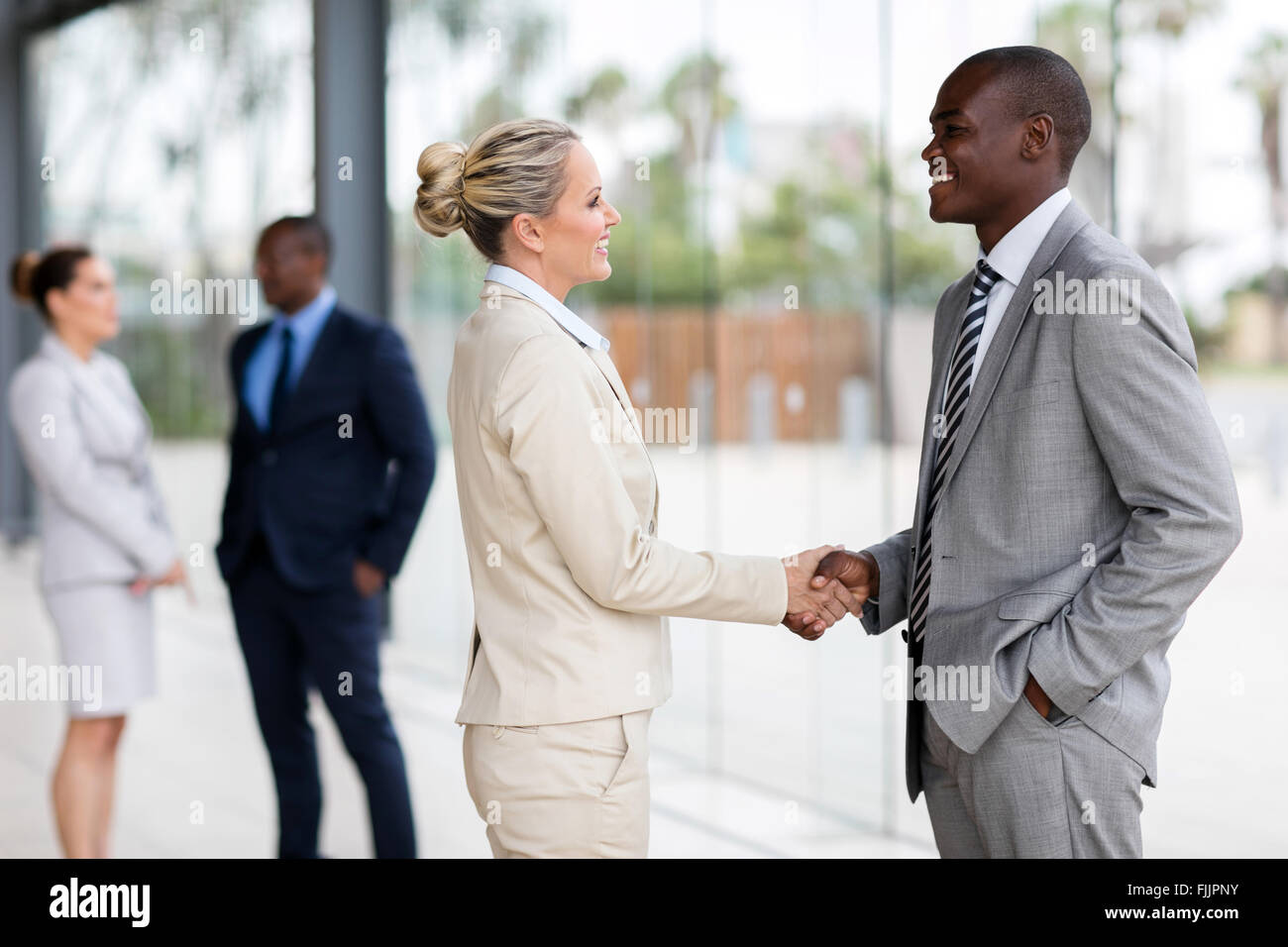 professional business people handshaking in modern office - Stock Image