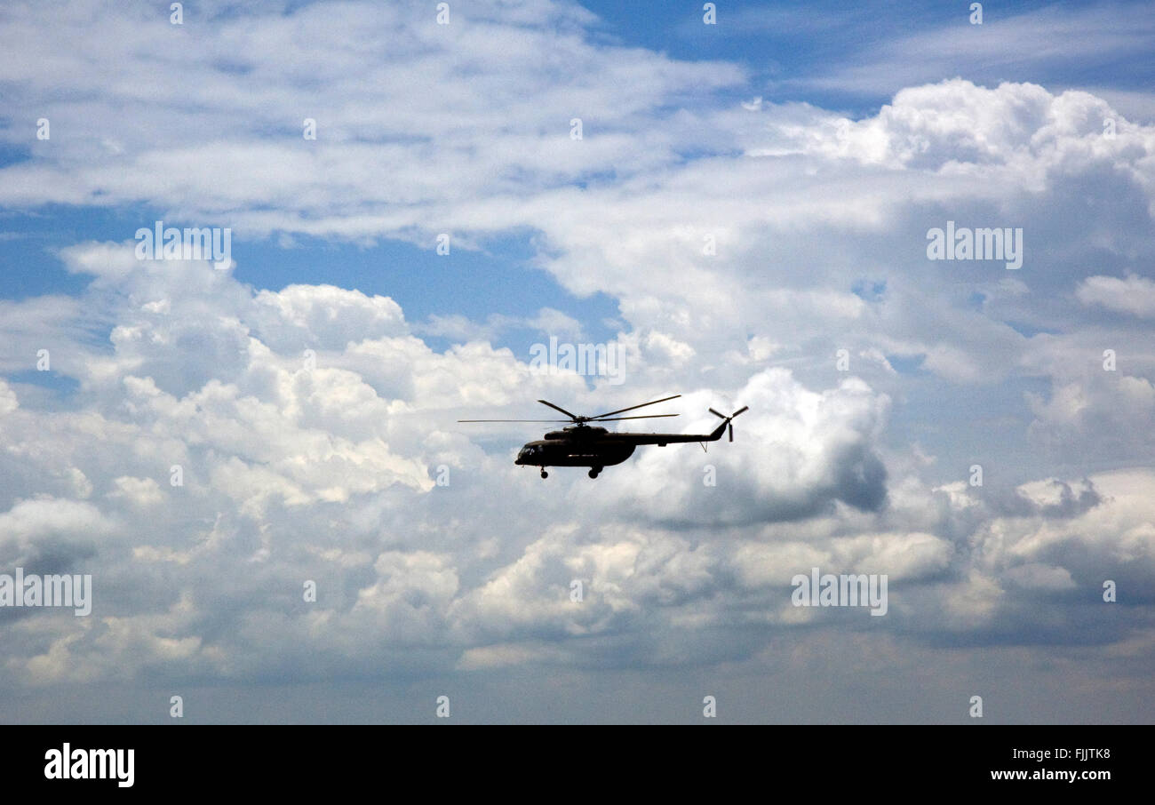 Helicopter in flight - Stock Image