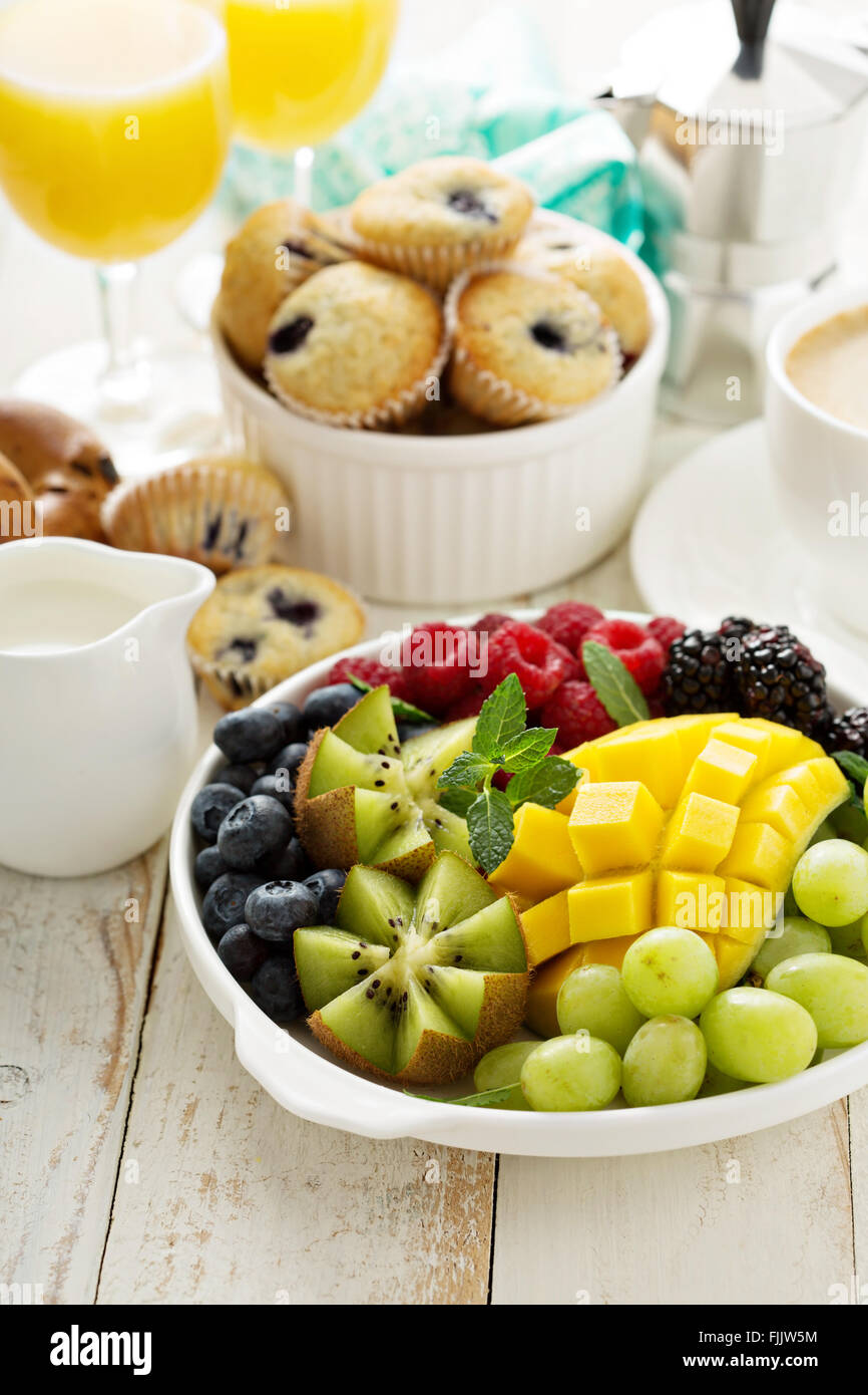 Fresh and bright continental breakfast table - Stock Image