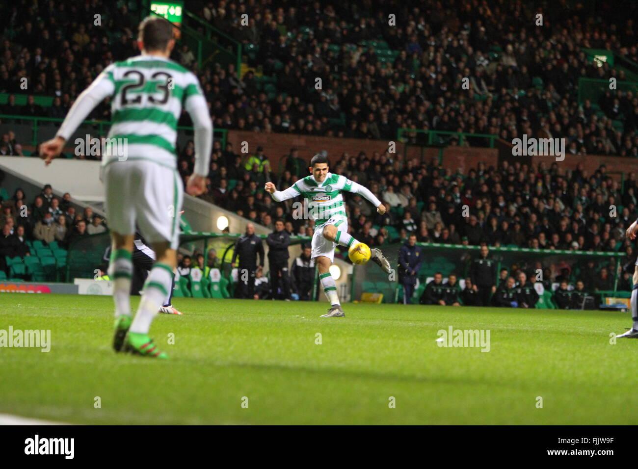 Celtic Park, Glasgow, Scotland. 02nd Mar, 2016. Scottish Premier League. Celtic versus Dundee.Tom Rogic hits a volley - Stock Image