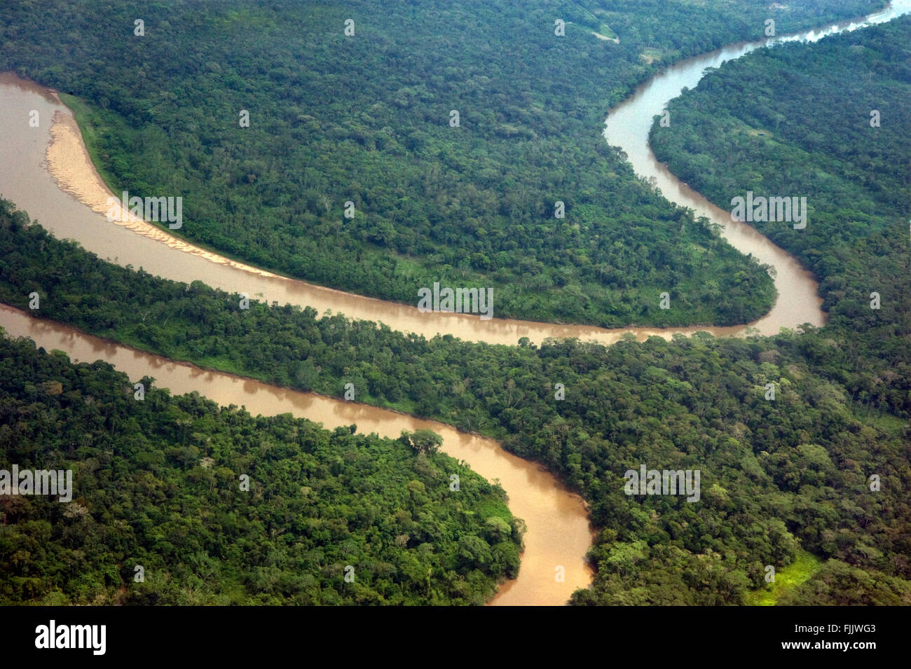Aerial view of the Amazon River in Ecuador - Stock Image