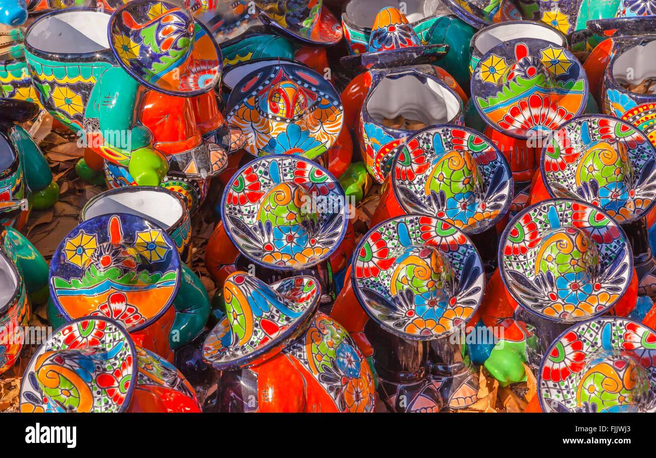 Colorful Souvenir Ceramic Mexican Peasants Hats Sombreros San Miguel de Allende Mexico - Stock Image