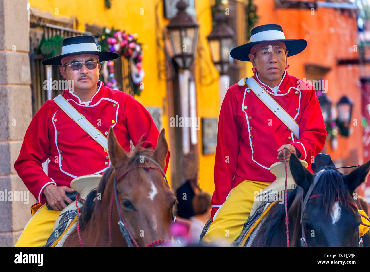 Mounted Police Traditional Uniforms Jardin Town Square San Miguel de Allende Mexico. - Stock Image