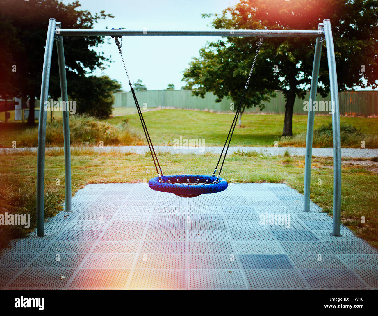 Swing in adventure playground, New Zealand - Stock Image