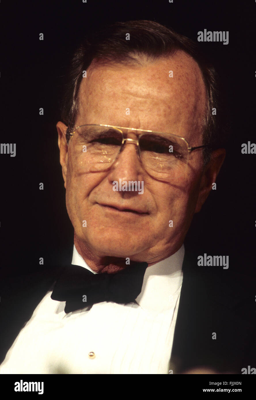 Washington, DC., USA, May, 1992 President George H.W. Bush. in Black tie at the White House Correspondents dinner. - Stock Image
