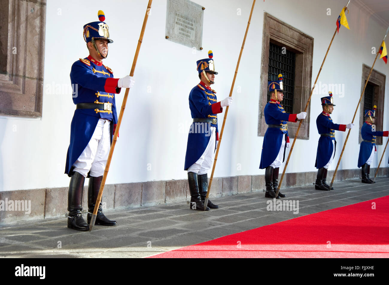 Palace Guard at the Presidential Palace in Quito, Ecuador - Stock Image