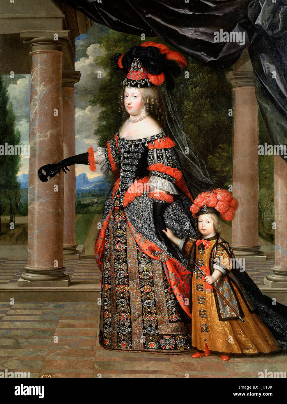 Queen Marie Thérèse and her son the Dauphin of France, dated circa 1663 by Charles Beaubrun - Stock Image