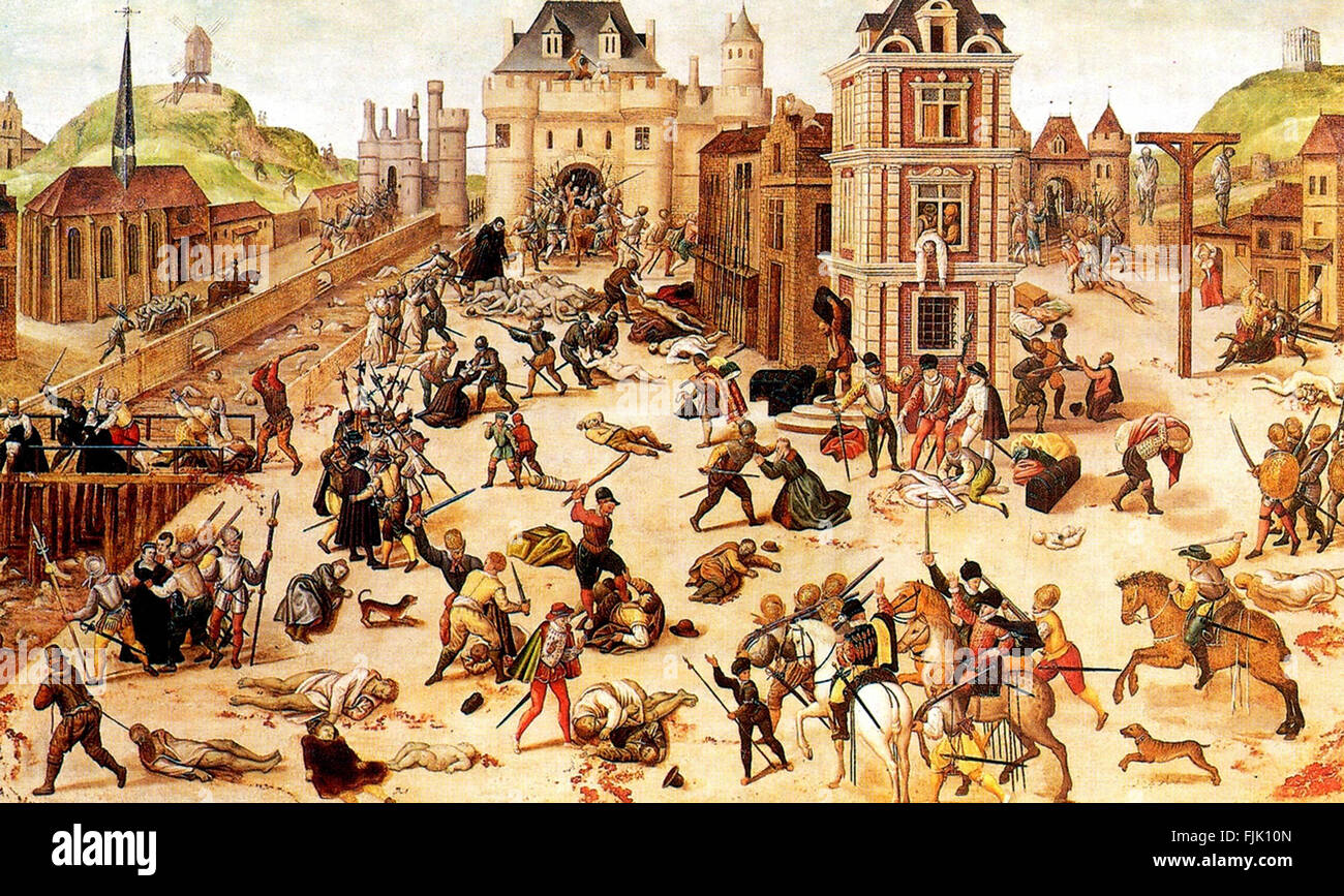 An Eyewitness Account of the Saint Bartholomew's Day Massacre by Francois Dubois. The St. Bartholomew's Day massacre in 1572 was a targeted group of assassinations and a wave of Catholic mob violence, directed against the Huguenots (French Calvinist Protestants) during the French Wars of Religion. Stock Photo
