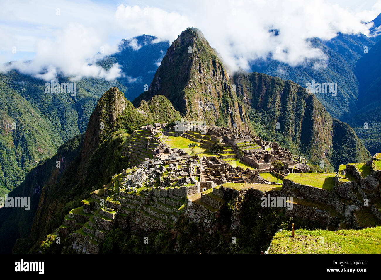 Misty clouds over Machu Picchu Wolrd Heritage Site - Stock Image