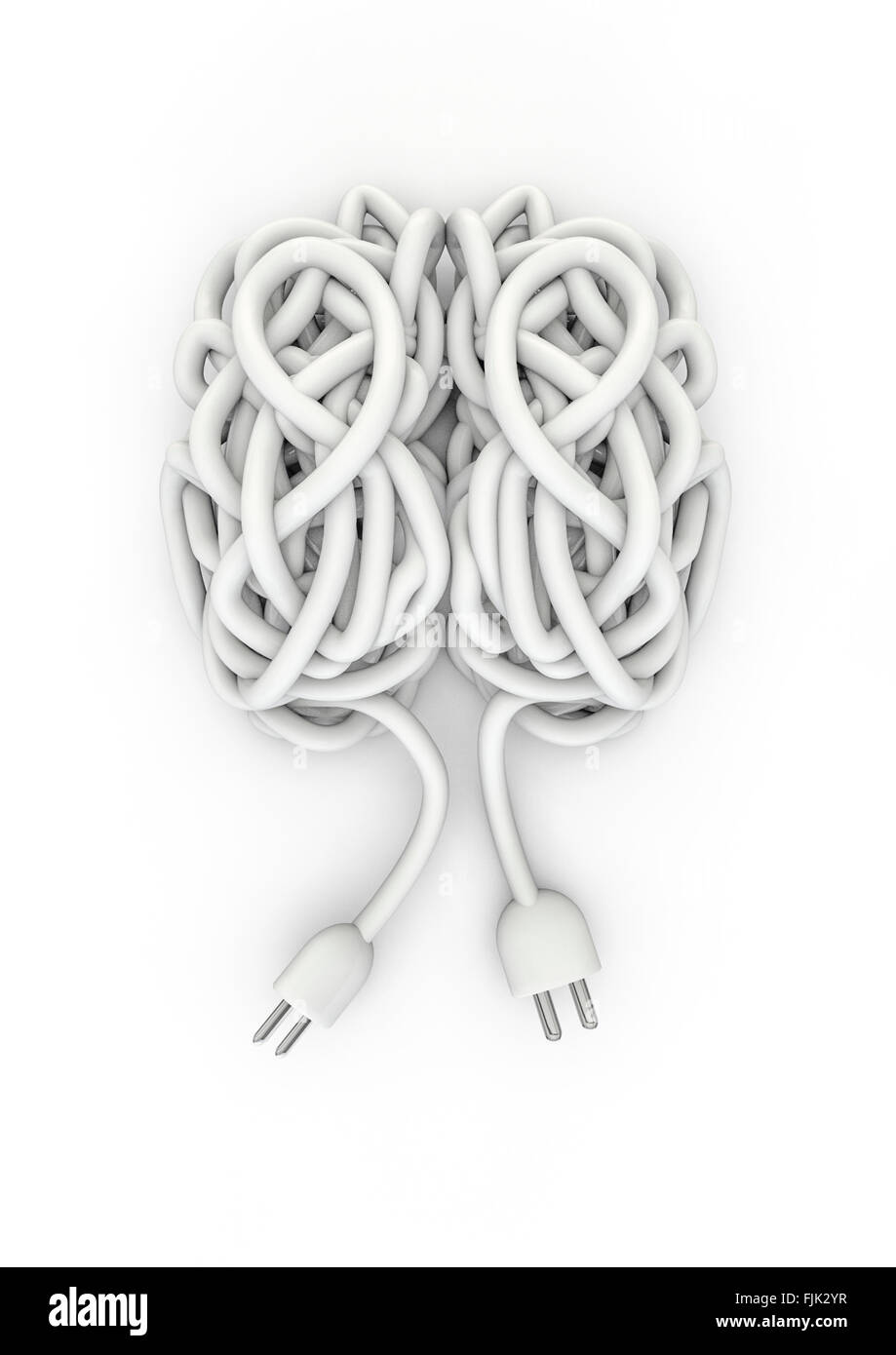 Wire brain / 3D render of brain made of electrical cord - Stock Image
