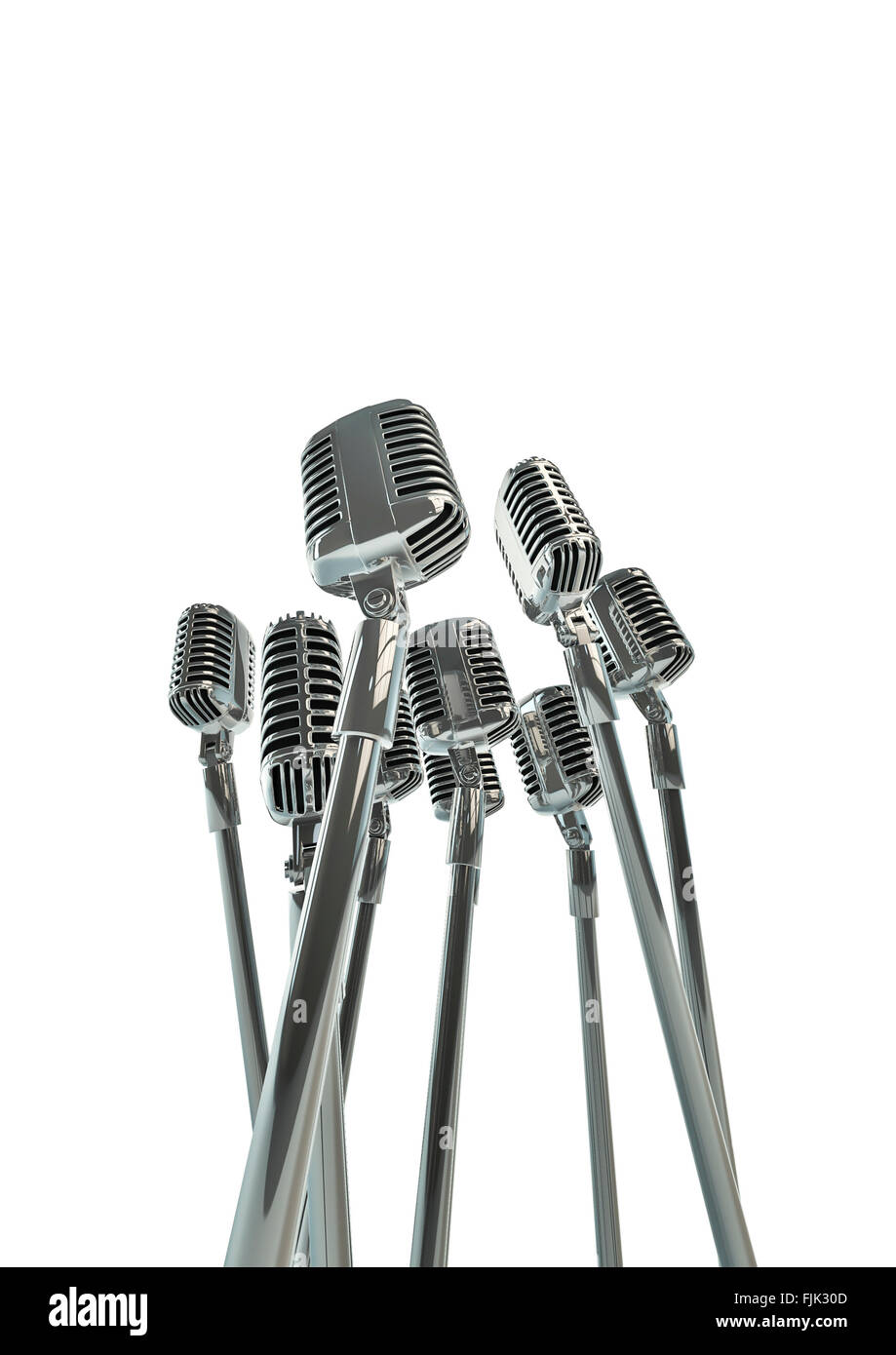 retro microphones 3d render of group of old fashioned classic