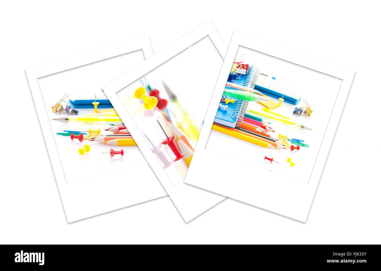 Three Polaroid Photos of back to school supplies - Stock Image
