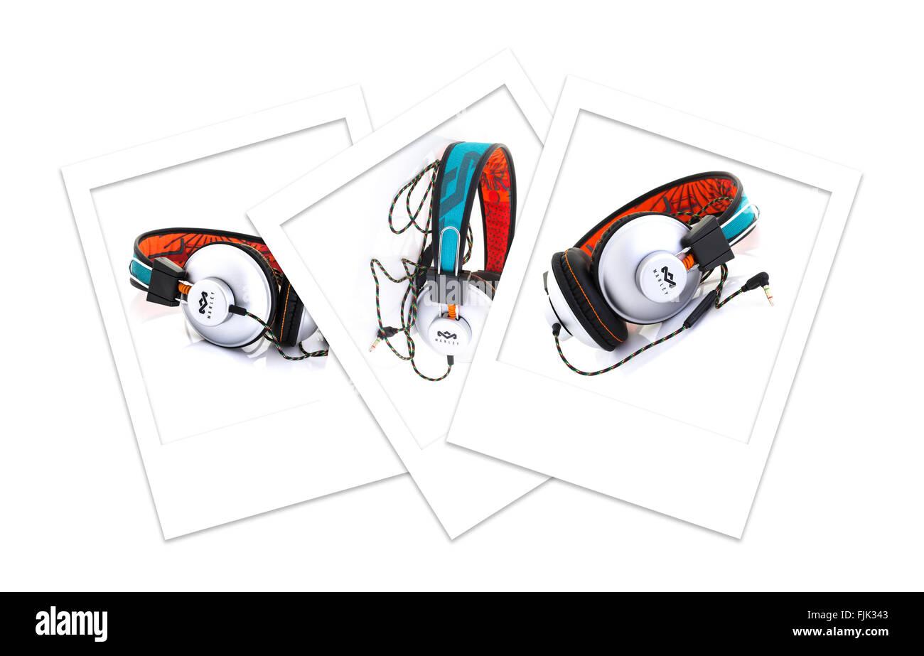 Three Polaroid Photos of Marley Headphones - Stock Image