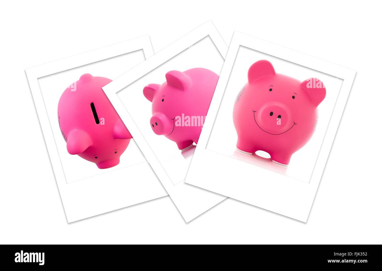 Three Polaroid Photos of Pink Piggy Banks - Stock Image