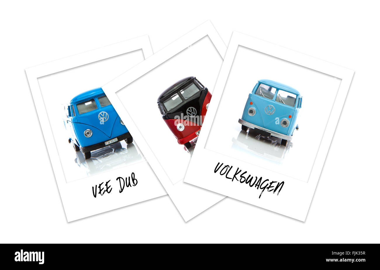 Three Polaroid Photos of Old VW Vans - Stock Image