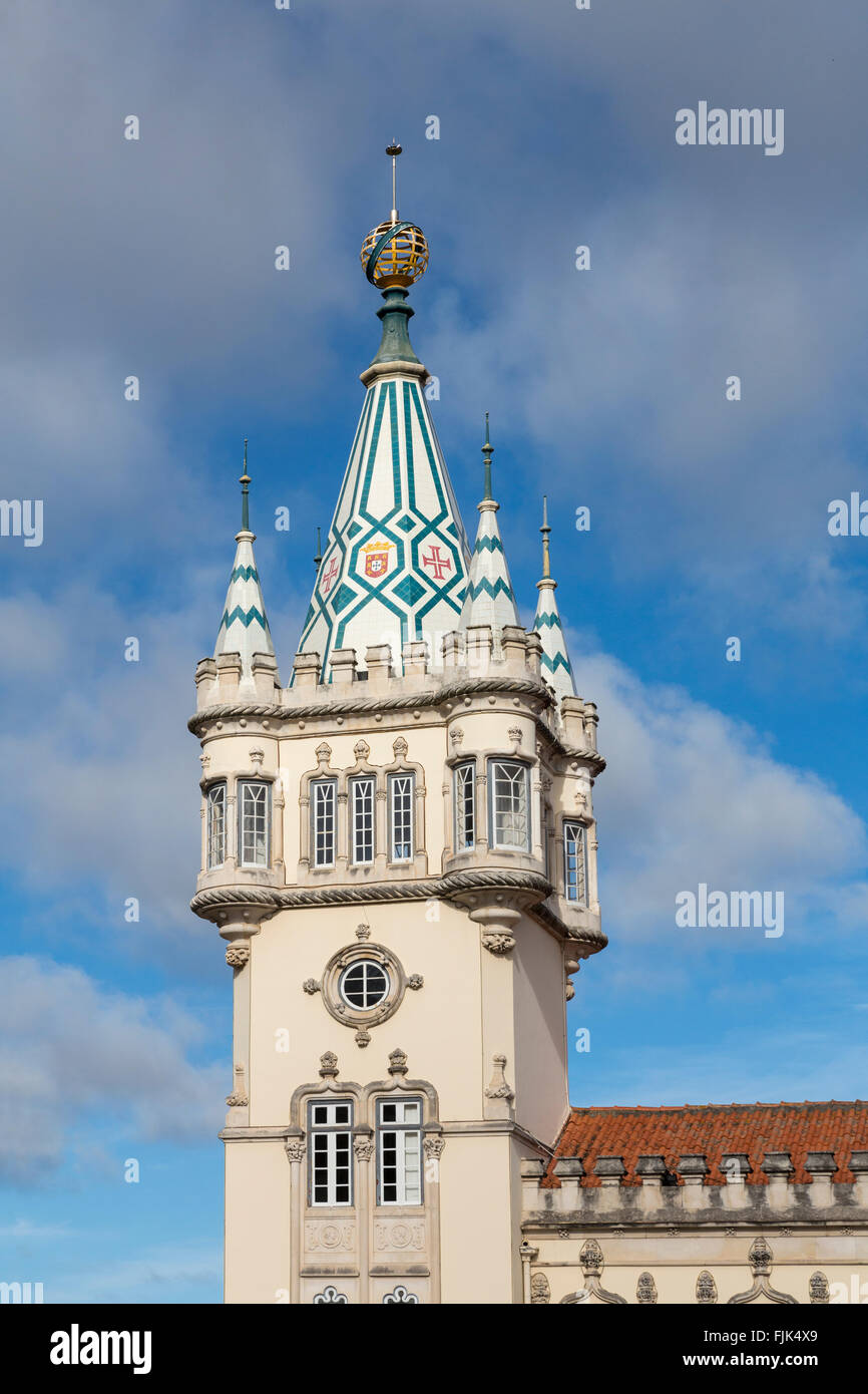 Tower of the baroque, neo-Manueline town hall of Sintra, Portugal, decorated with motifs from the Portuguese coat - Stock Image