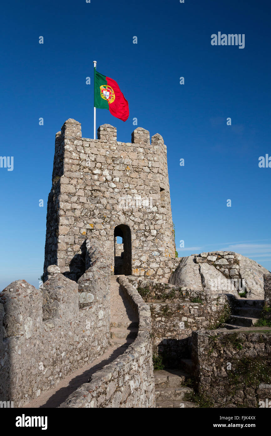 Medieval stone tower and ramparts, Castle of the Moors, Sintra, Portugal - Stock Image