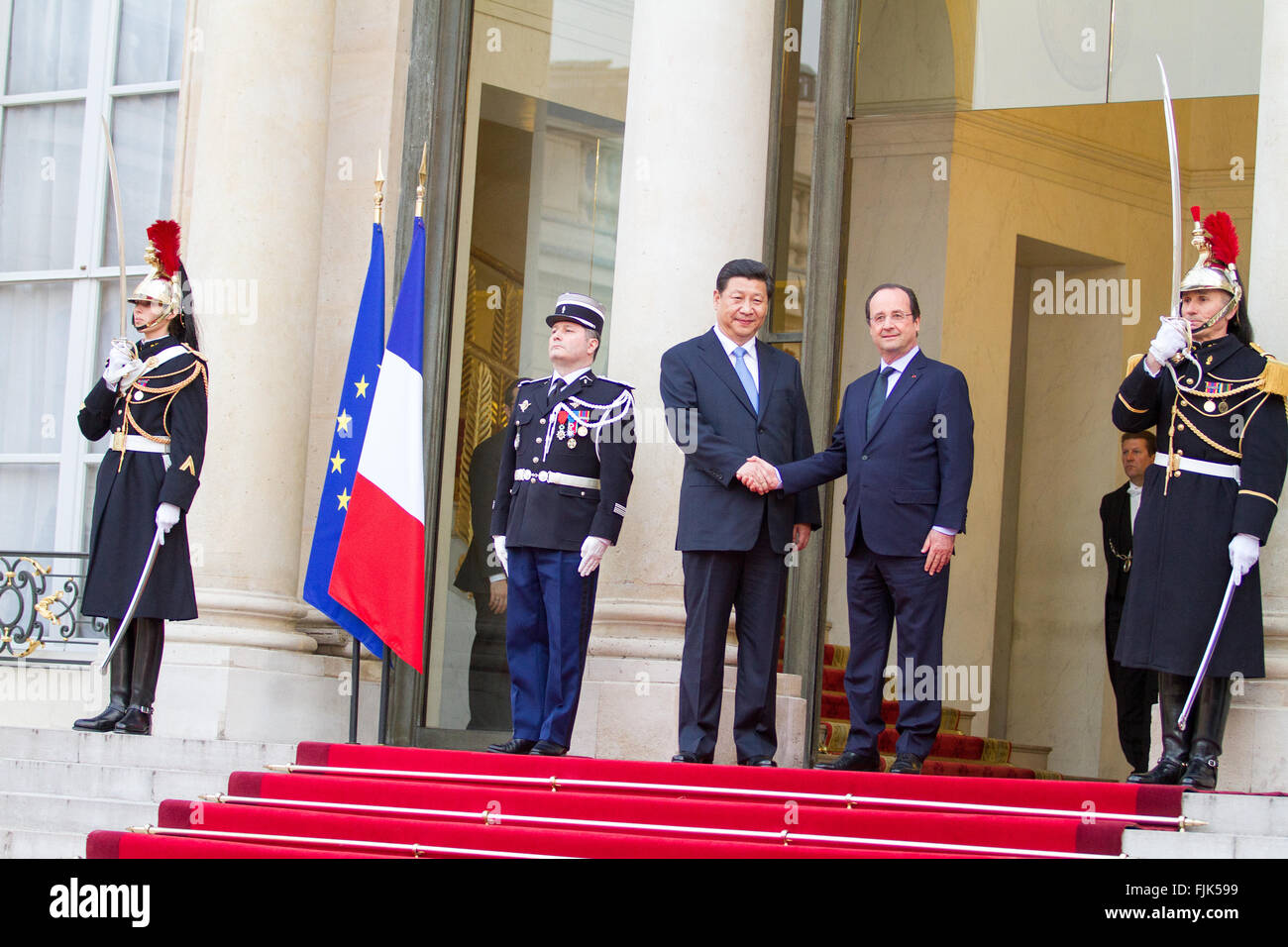 Xi Jinping Chinese President visits Paris with François Hollande at the Elysée Palace - Stock Image