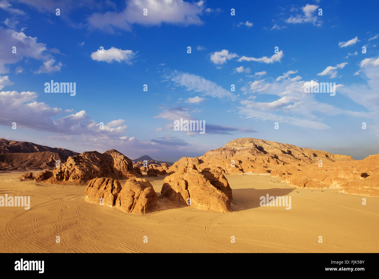 Egypt Sinai desert view  Rocky hills Blue sky Stock Photo