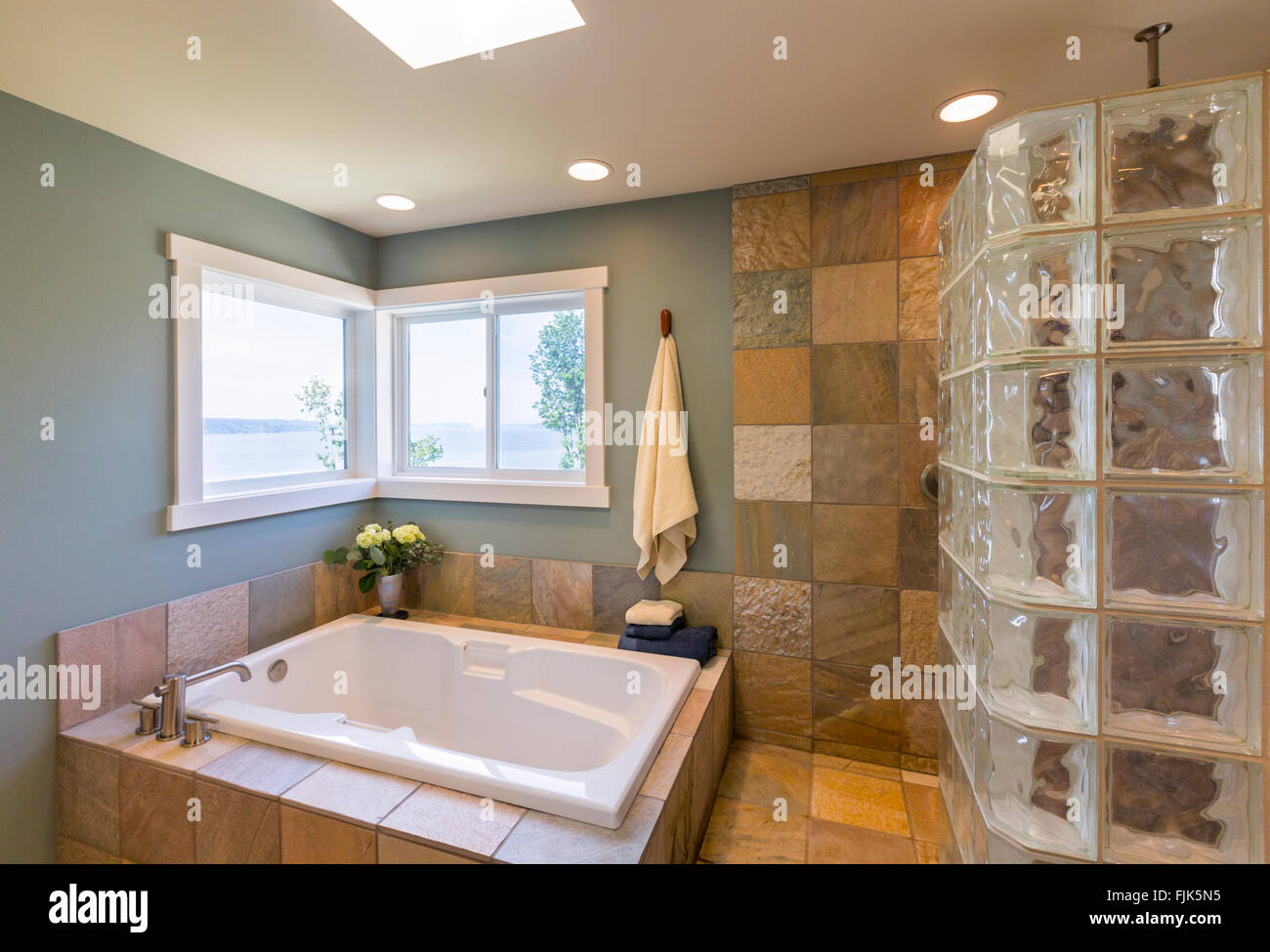 Contemporary Upscale Home Spa Bathroom Interior With Glass Tile