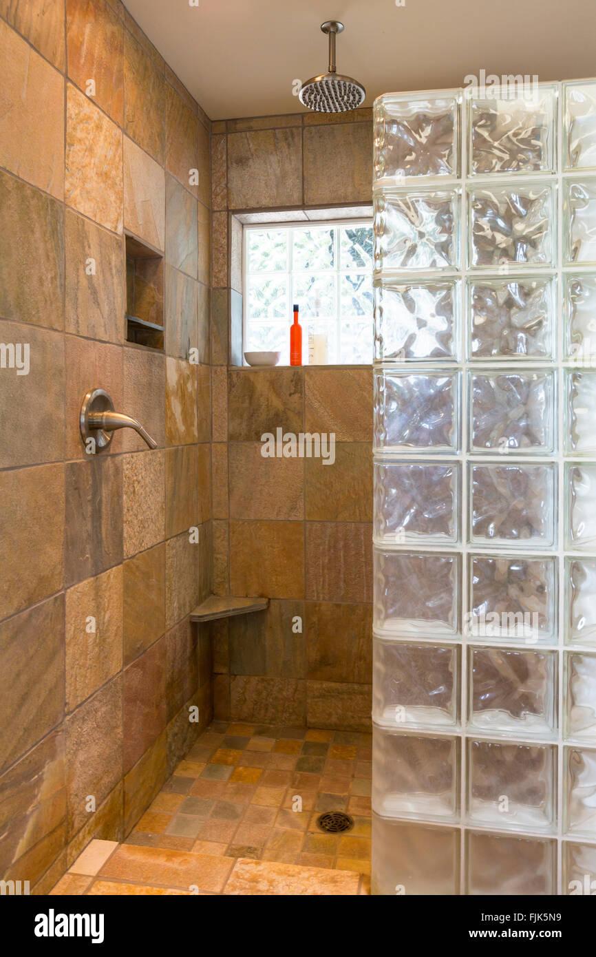 Spa bathroom shower area with slate tile and gl block walls in ... on bathroom shower wall tile installation, bathroom floor tile design ideas, bathroom vanity tile design ideas,