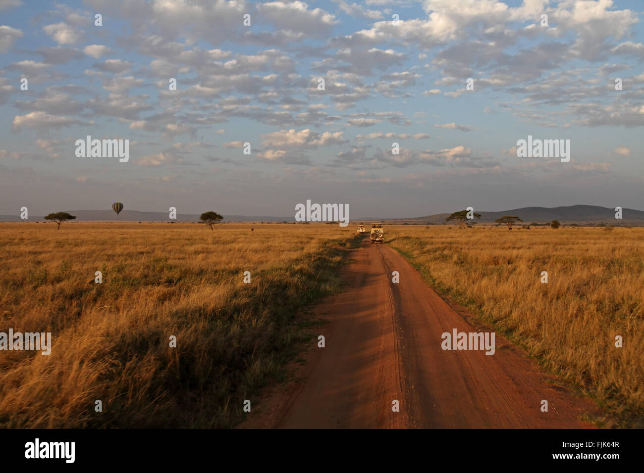 Road through the serengeti displaying different modes of transportation from safari truck to balloon. - Stock Image