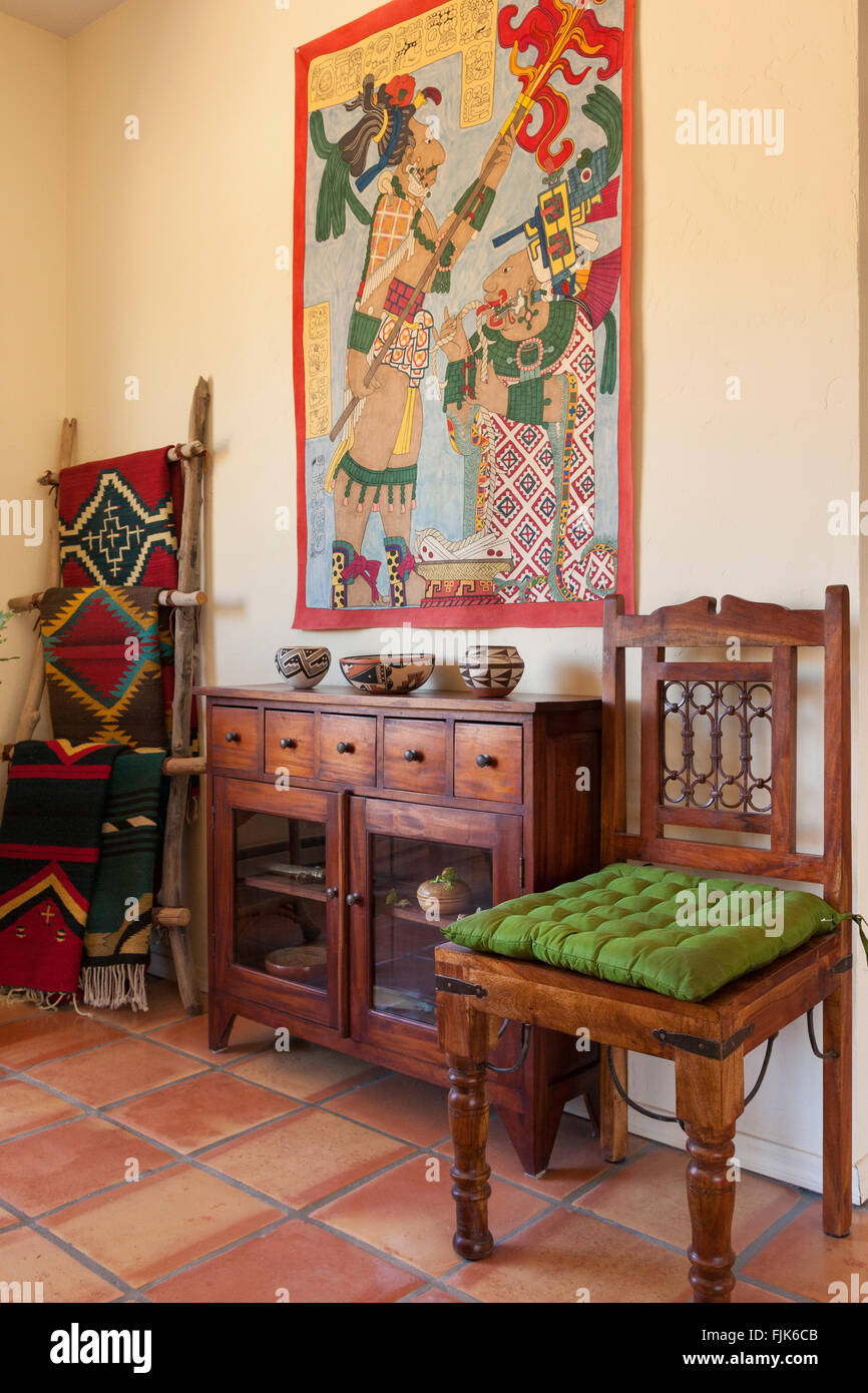 home interior with traditional american southwest furniture and