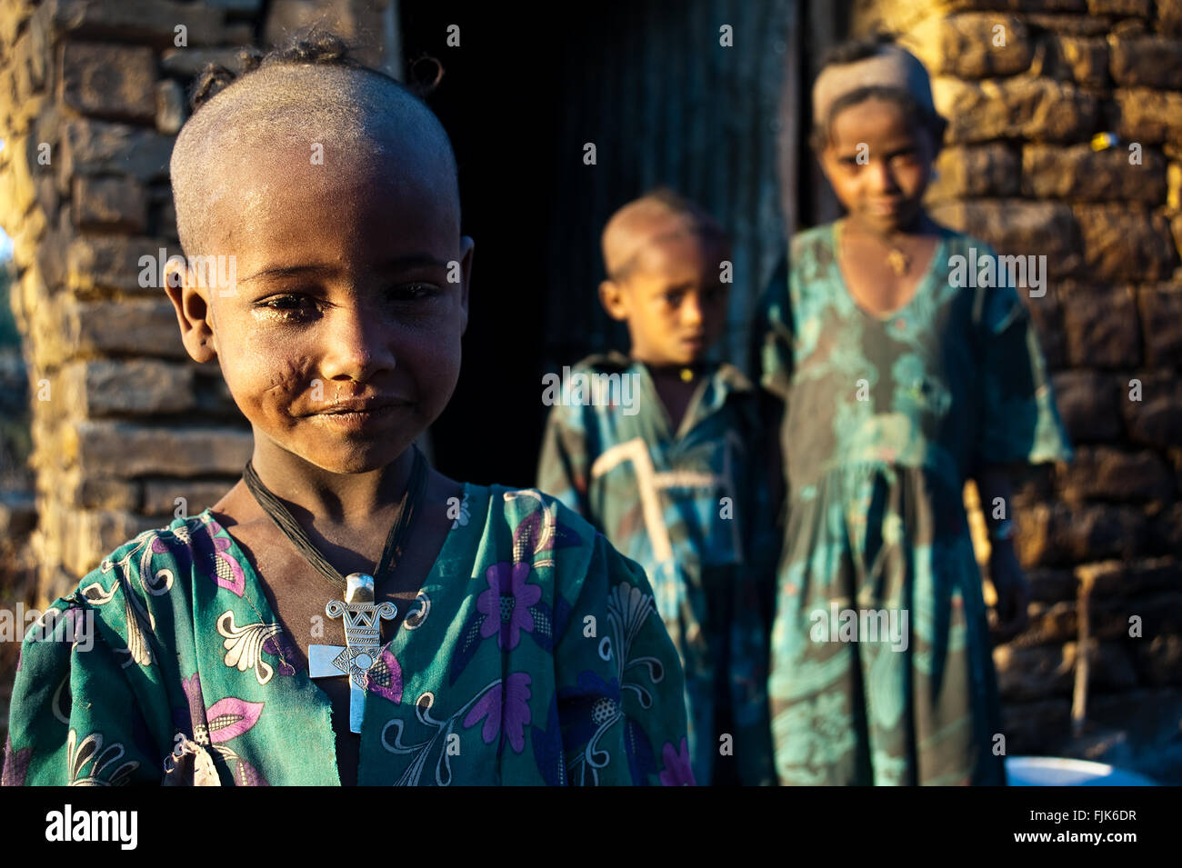 Children belonging to the Agaw people ( Ethiopia) - Stock Image