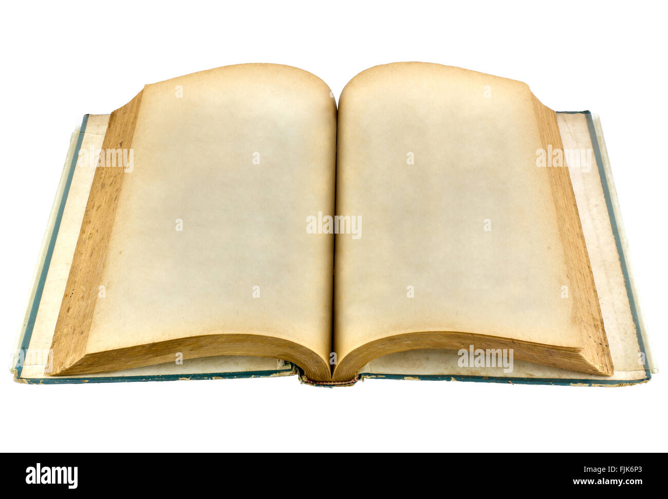 old book open on white background with clipping path perspective
