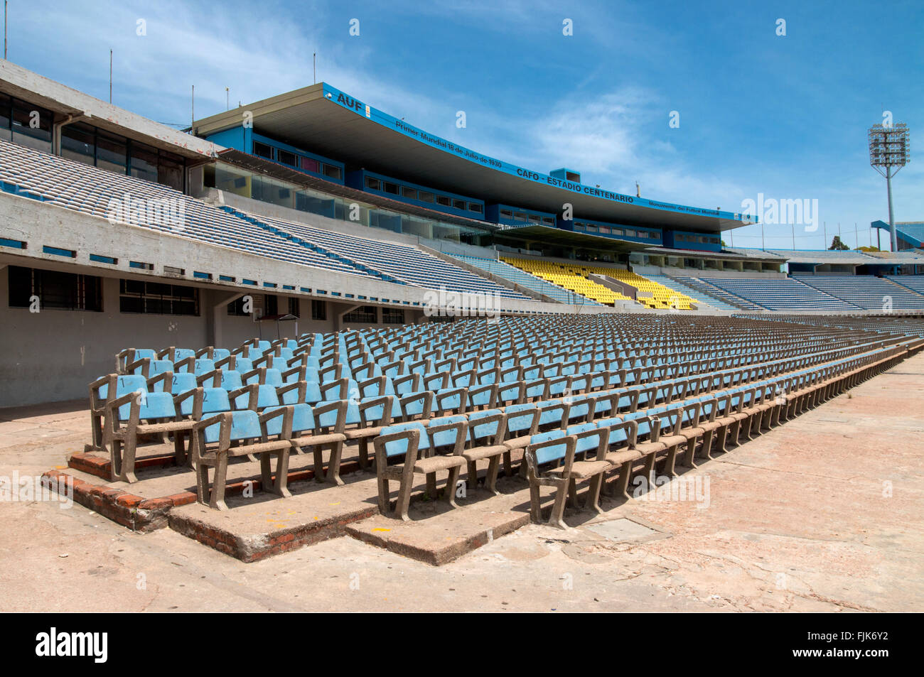 Stands for fans at the Centenario Football Stadium, Montevideo, Uruguay - Stock Image