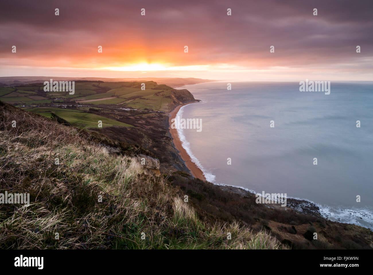 UK Weather, Golden Cap, Chideock, Dorset. 3rd March 2016. UK Weather: View along Dorset's Jurassic Coast looking Stock Photo