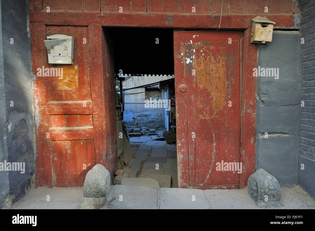 A small street in a Hutong in Beijing,China - Stock Image