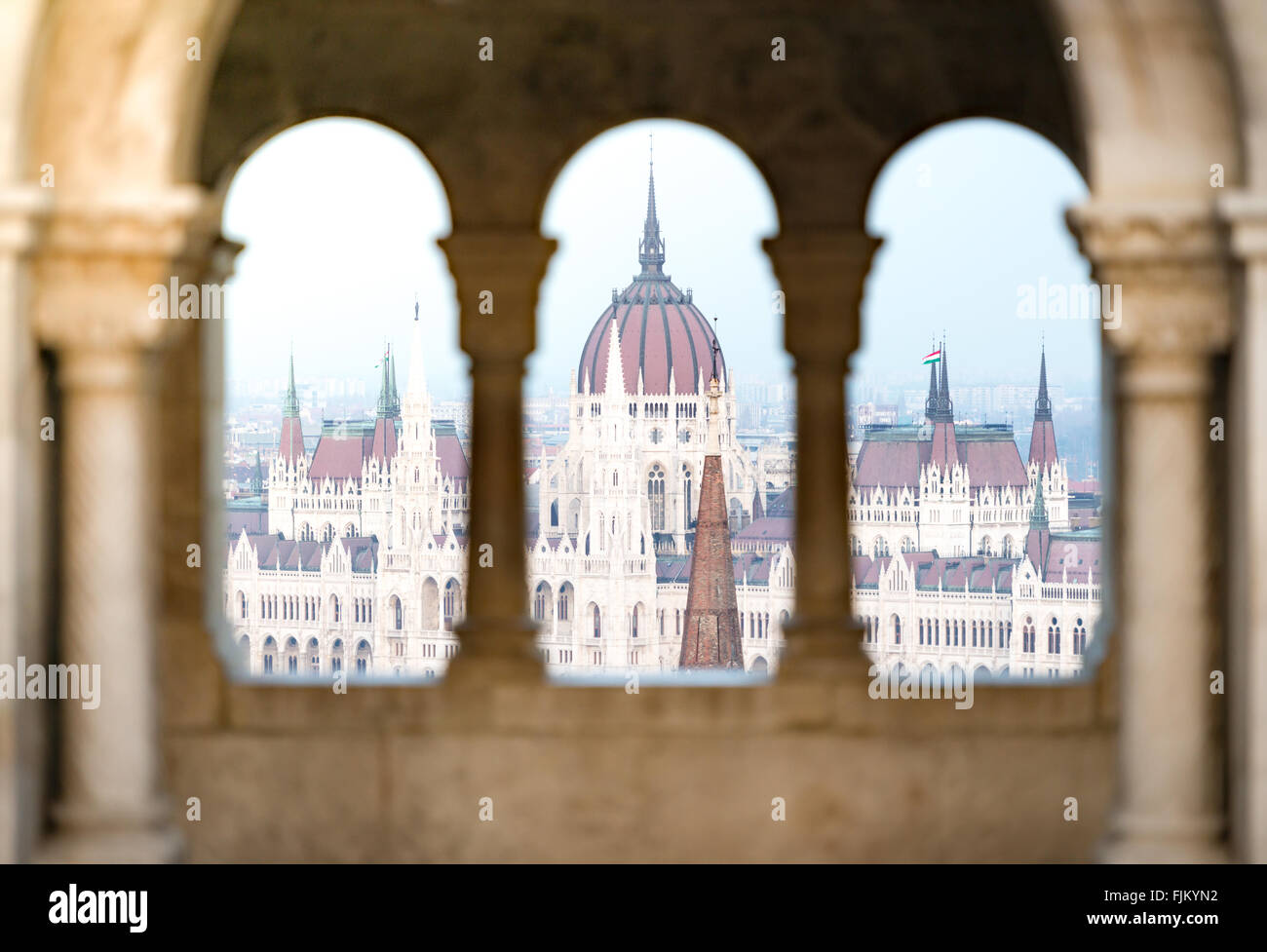 View on parliament building from fisherman bastion on Buda hill. Budapest, Hungary, Europe travel. - Stock Image
