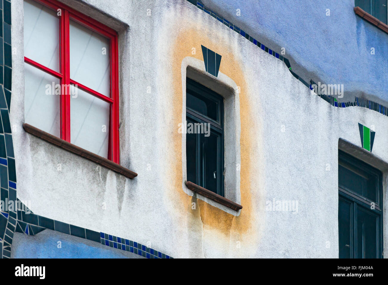 Details of Hundertwasser house in Vienna, Austria. Tourist attraction, unusual building. Europe travel. - Stock Image