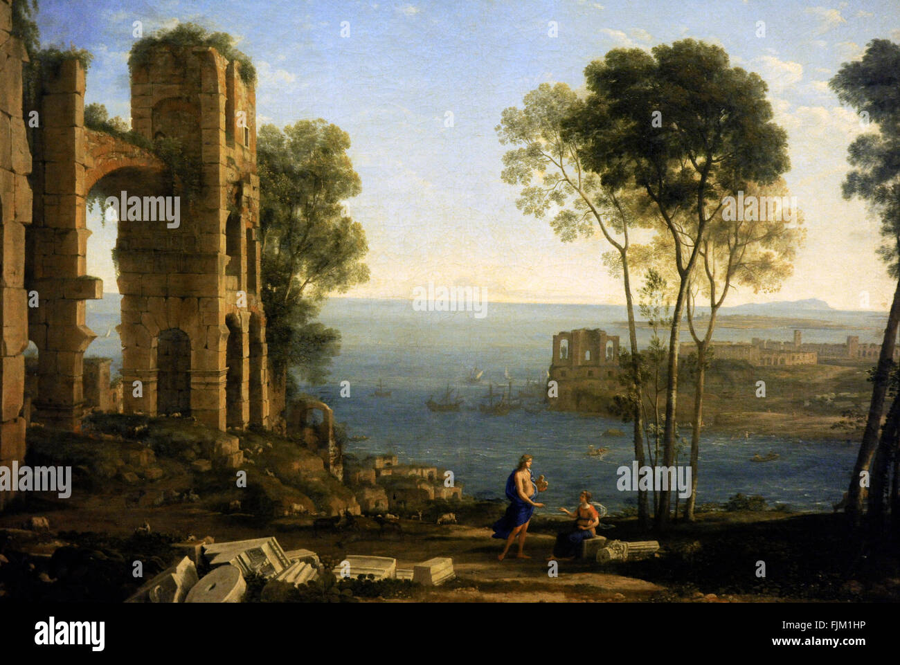 Claude Gellee called Le Lorrain (1600-1682). French painter. Coast view with Apollo and the Cumaean Sibyl, 1645 - Stock Image