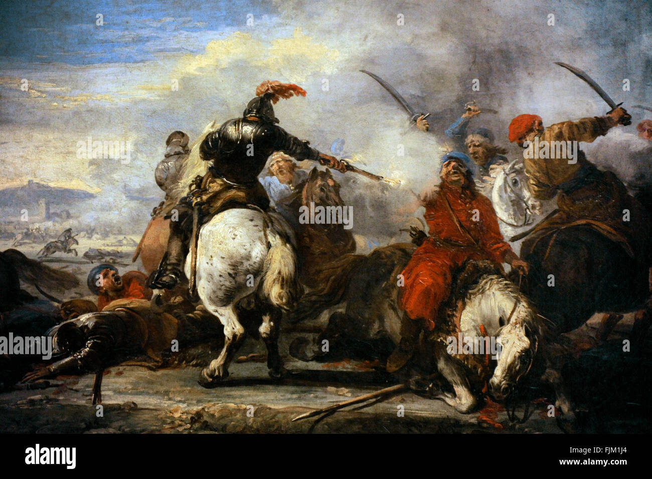 Jacques Courtois called Il Borgognone (1621-1675). French painter. Cavalry Encounter, second half of the 17th century. - Stock Image
