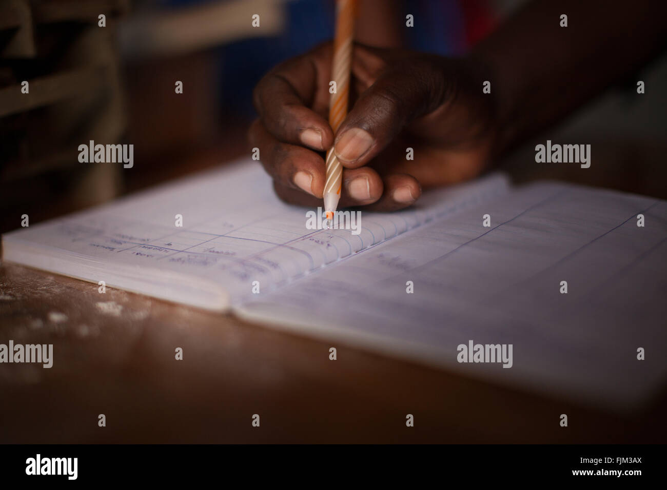 A female business women doing some book keeping, Tanzania - Stock Image