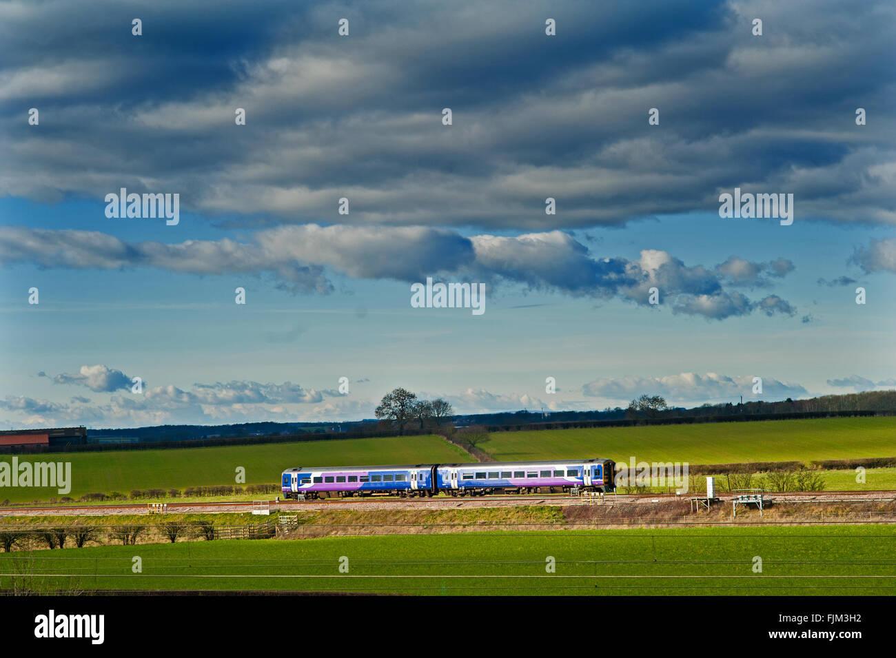 Transpennine Train on Leeds Line, Colton Junction, Yorkshire - Stock Image