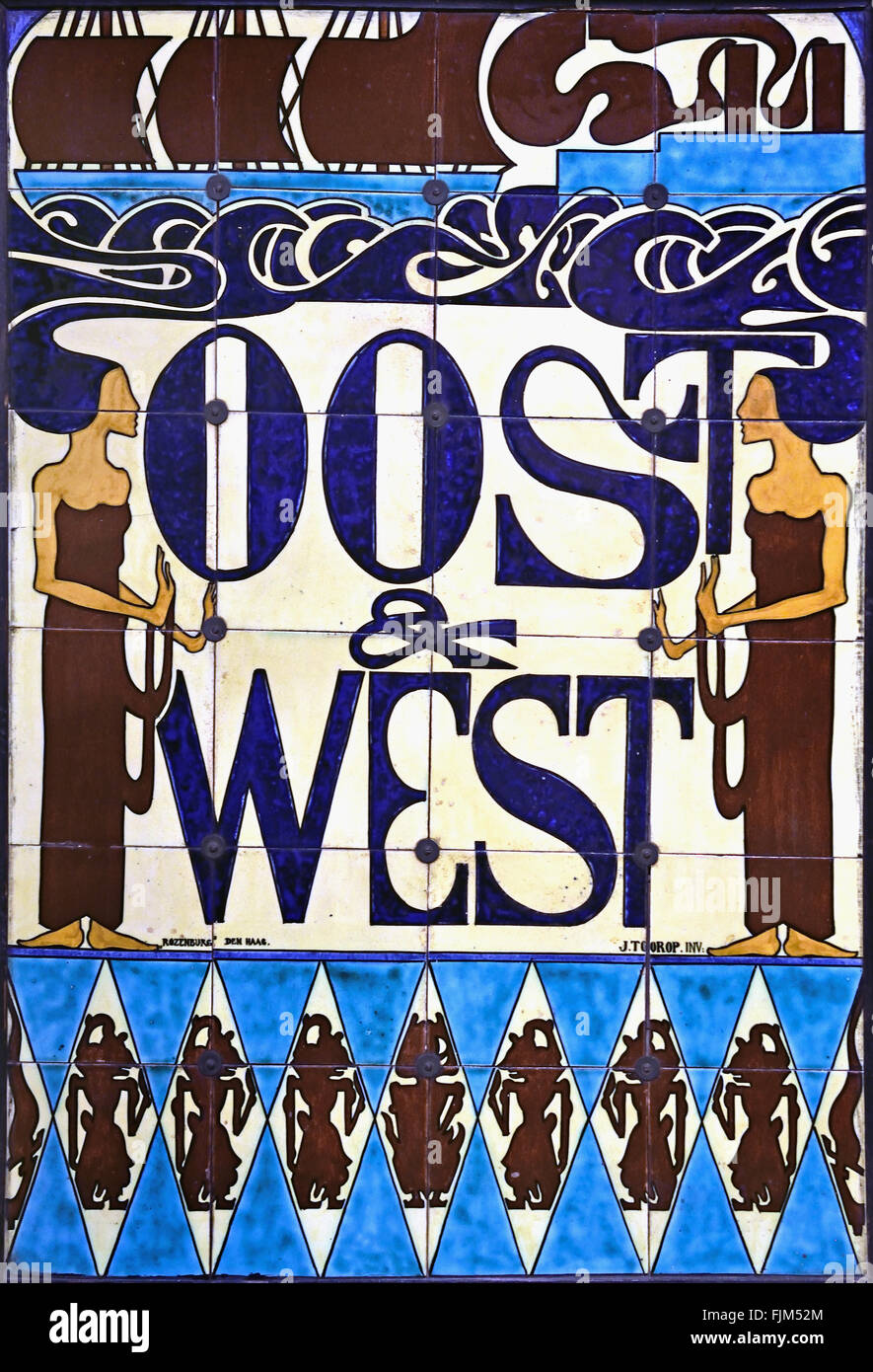Tile picture for the association Oost en West ( East and West ) 1900 Jan Toorop ( Johannes Theodorus ) 1858 – 1928 Stock Photo