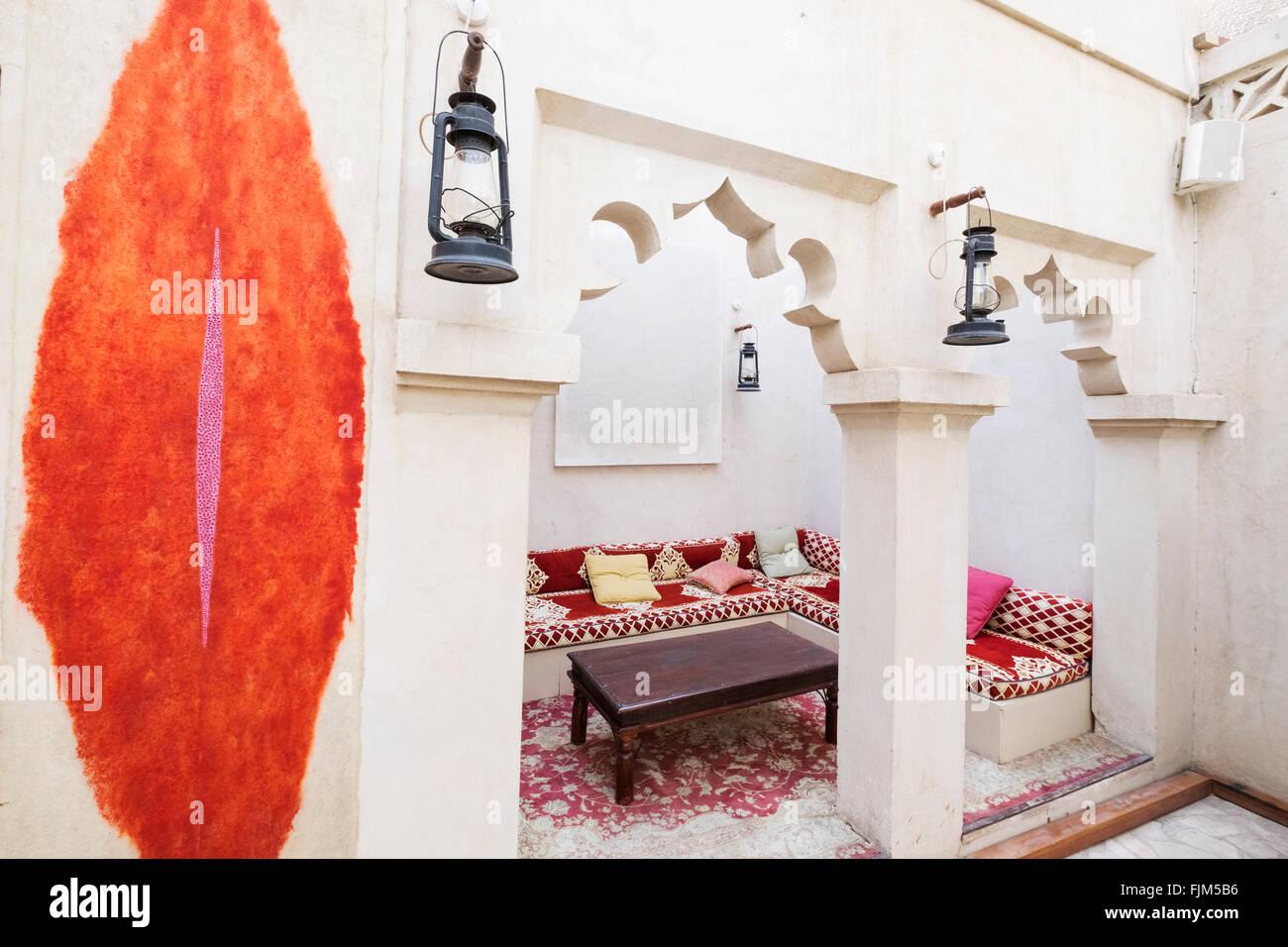 Art works on display at XVA gallery and hotel in Bastakiya old district of Dubai United Arab Emirates - Stock Image