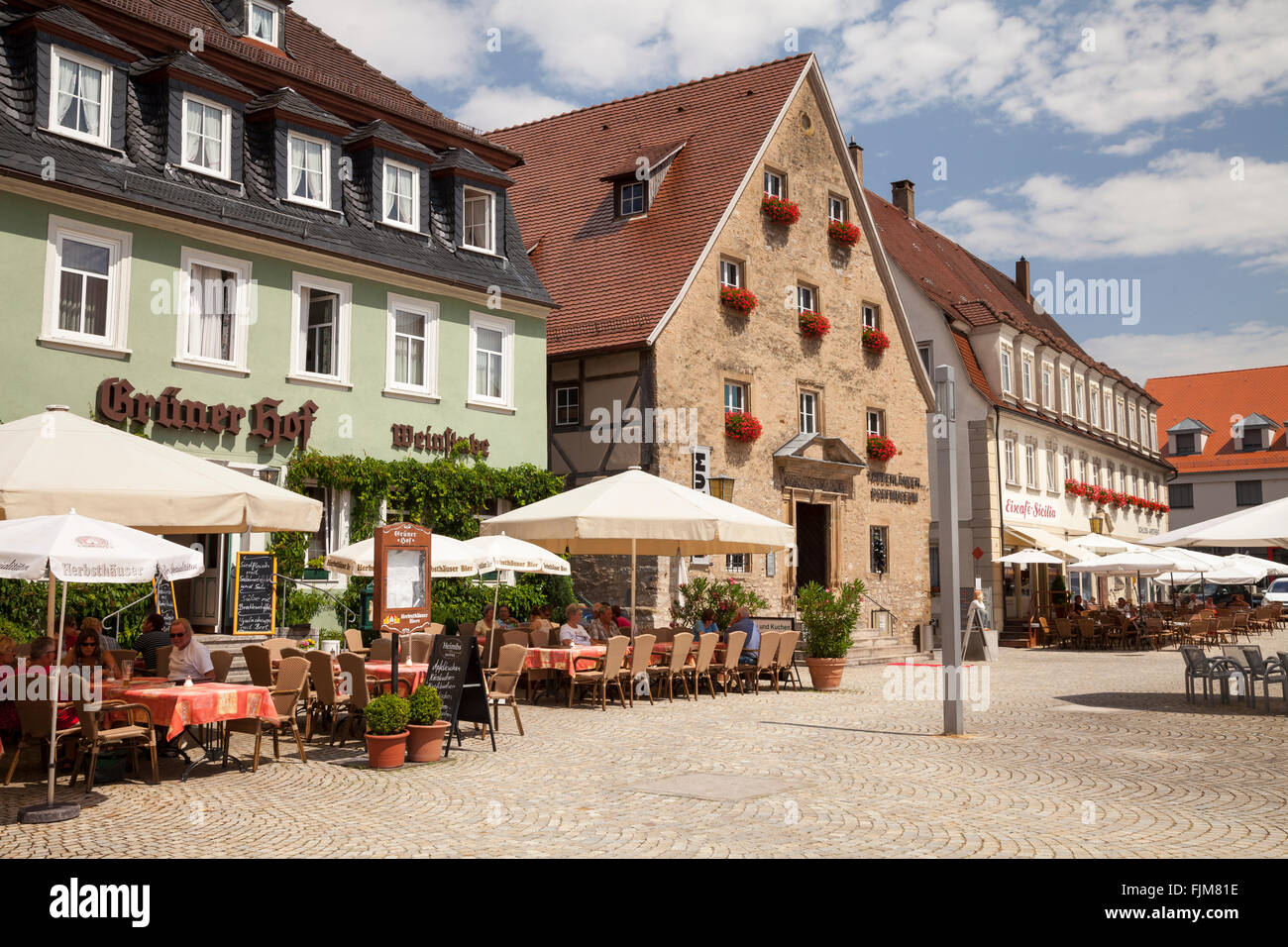 geography / travel, Germany, Baden-Wuerttemberg, Weikersheim on the Tauber, squares, marketplace with Tauber Valley - Stock Image